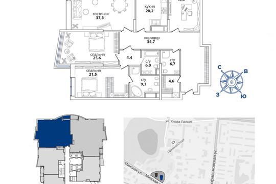 2-комн квартира, 193.1 м2, 33 этаж