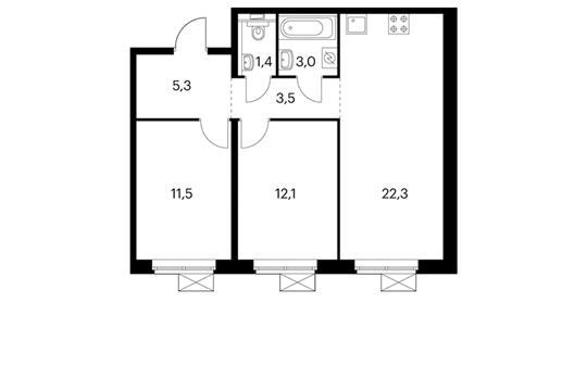 2-комнатная квартира, 59.1 м<sup>2</sup>, 3 этаж