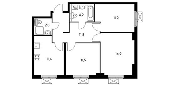 3-комнатная квартира, 68.1 м<sup>2</sup>, 4 этаж