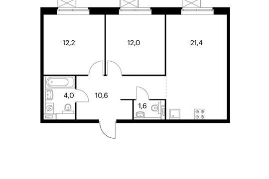 2-комнатная квартира, 61.8 м<sup>2</sup>, 9 этаж