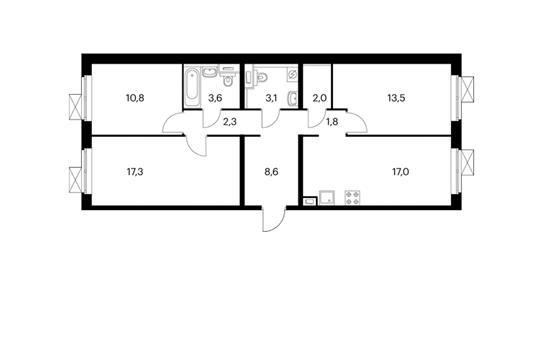 3-комнатная квартира, 80 м<sup>2</sup>, 2 этаж
