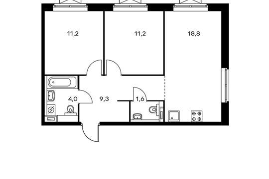 2-комнатная квартира, 56.1 м<sup>2</sup>, 25 этаж