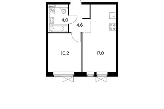 1-комнатная квартира, 35.8 м<sup>2</sup>, 14 этаж