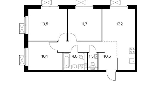3-комнатная квартира, 68.5 м<sup>2</sup>, 9 этаж