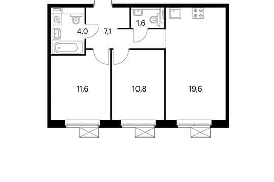 2-комнатная квартира, 54.7 м<sup>2</sup>, 7 этаж