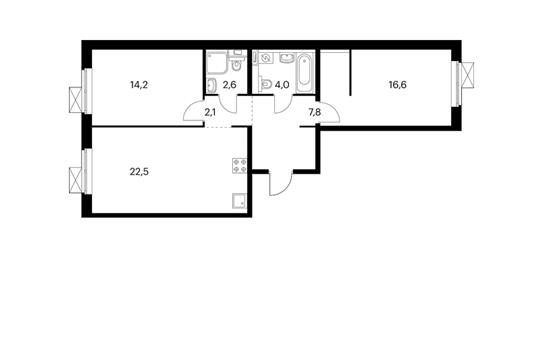 2-комнатная квартира, 69.8 м<sup>2</sup>, 3 этаж