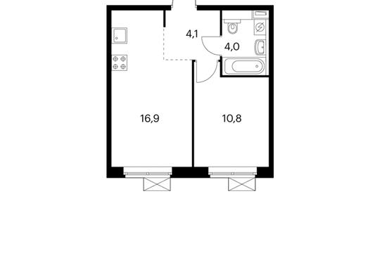 1-комнатная квартира, 39.4 м<sup>2</sup>, 3 этаж