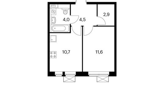 1-комнатная квартира, 33.7 м<sup>2</sup>, 15 этаж