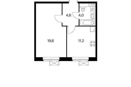1-комнатная квартира, 39.4 м<sup>2</sup>, 4 этаж
