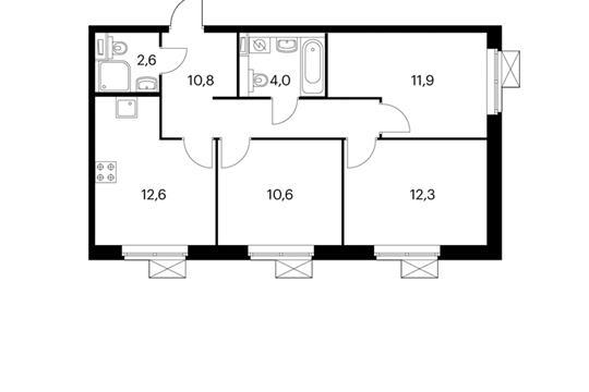 3-комнатная квартира, 64.8 м<sup>2</sup>, 10 этаж