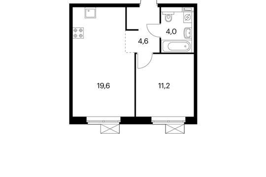 1-комнатная квартира, 39.4 м<sup>2</sup>, 8 этаж