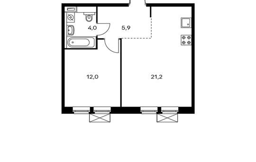 1-комнатная квартира, 43.1 м<sup>2</sup>, 2 этаж