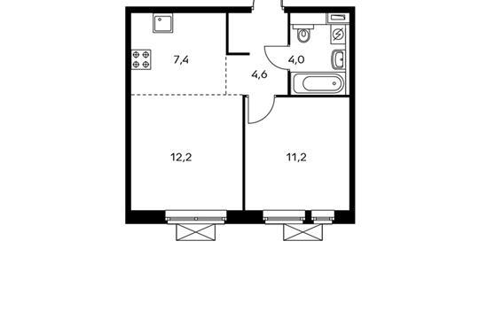 2-комнатная квартира, 39.4 м<sup>2</sup>, 4 этаж