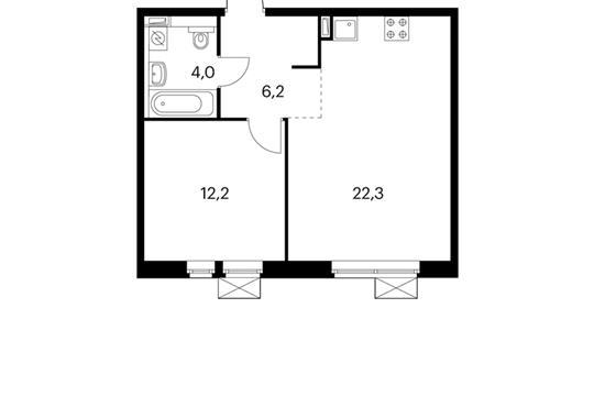 1-комнатная квартира, 44.7 м<sup>2</sup>, 13 этаж