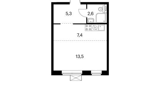1-комнатная квартира, 28.8 м<sup>2</sup>, 11 этаж