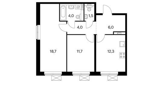 2-комнатная квартира, 58.2 м<sup>2</sup>, 8 этаж