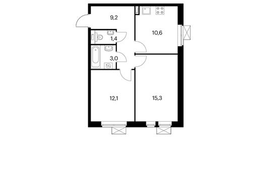 2-комнатная квартира, 51.6 м<sup>2</sup>, 14 этаж
