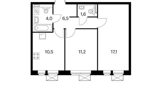 2-комн квартира, 50.9 м<sup>2</sup>, 14 этаж_1