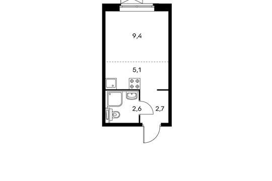1-комнатная квартира, 19.8 м<sup>2</sup>, 4 этаж