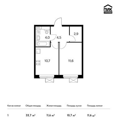 1-комнатная квартира, 33.7 м<sup>2</sup>, 9 этаж_1