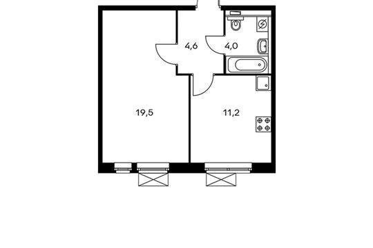 1-комнатная квартира, 39.3 м<sup>2</sup>, 9 этаж