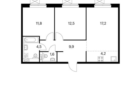 3-комнатная квартира, 61.7 м<sup>2</sup>, 4 этаж