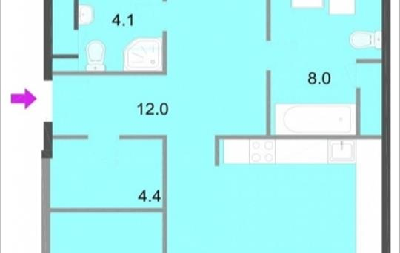 3-комнатная квартира, 113.3 м<sup>2</sup>, 4 этаж