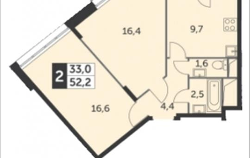 2-комнатная квартира, 52.2 м<sup>2</sup>, 13 этаж