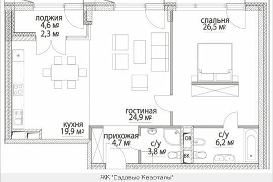 2-комнатная квартира, 88.3 м<sup>2</sup>, 11 этаж