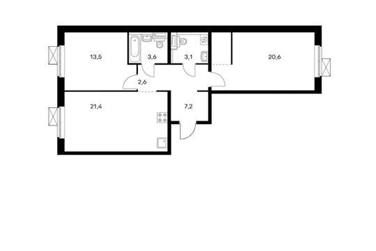 2-комнатная квартира, 72 м<sup>2</sup>, 2 этаж