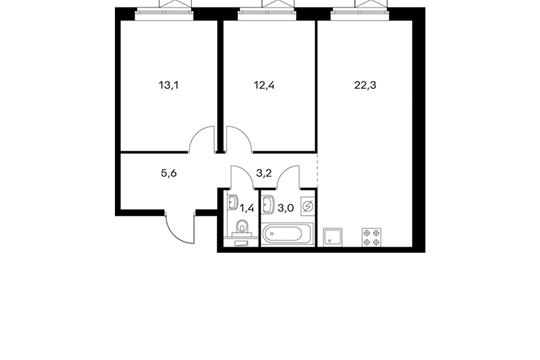 2-комнатная квартира, 61 м<sup>2</sup>, 2 этаж
