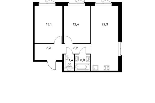 2-комнатная квартира, 61 м<sup>2</sup>, 15 этаж