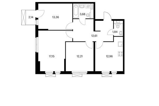 3-комнатная квартира, 74.45 м<sup>2</sup>, 4 этаж