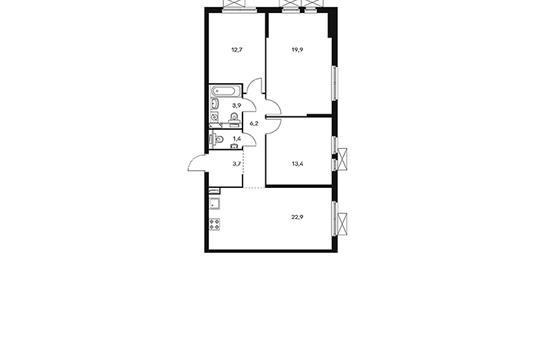 3-комнатная квартира, 84.1 м<sup>2</sup>, 12 этаж