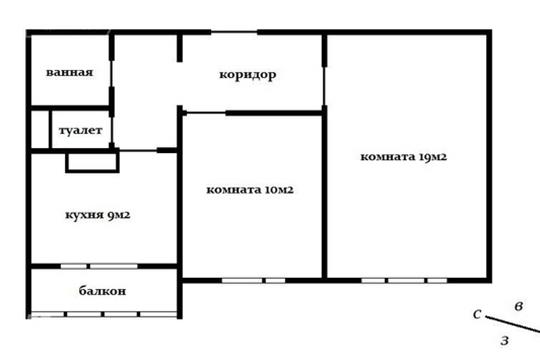 2-комнатная квартира, 54 м<sup>2</sup>, 14 этаж