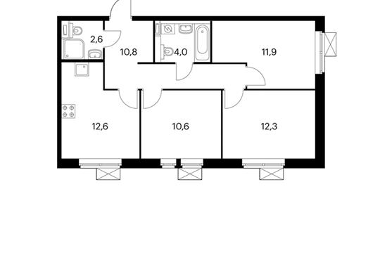3-комнатная квартира, 64.8 м<sup>2</sup>, 20 этаж