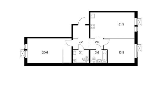 2-комнатная квартира, 72.1 м<sup>2</sup>, 14 этаж