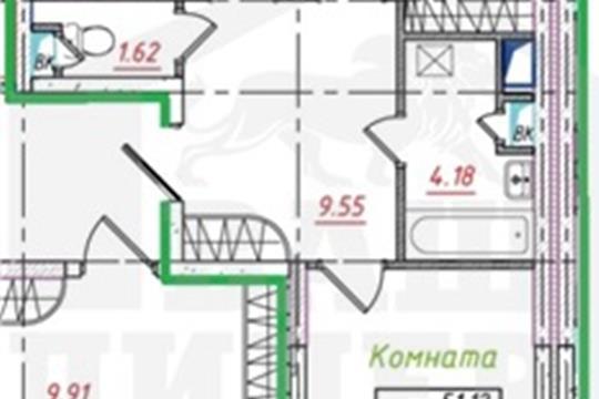2-комнатная квартира, 68 м<sup>2</sup>, 11 этаж