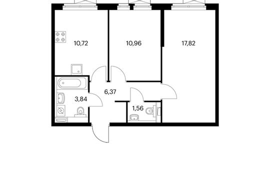 2-комнатная квартира, 51.27 м<sup>2</sup>, 13 этаж