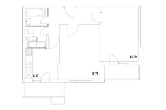 2-комнатная квартира, 53.46 м<sup>2</sup>, 8 этаж
