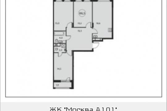 3-комнатная квартира, 86.5 м<sup>2</sup>, 15 этаж