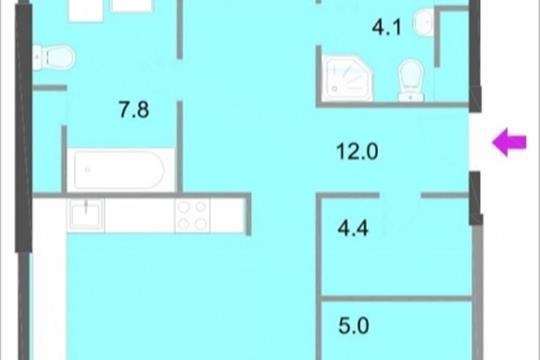 3-комнатная квартира, 112.7 м<sup>2</sup>, 12 этаж