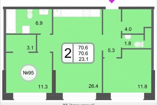 2-комнатная квартира, 70.6 м<sup>2</sup>, 12 этаж