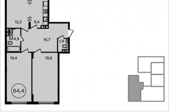 3-комнатная квартира, 84.4 м<sup>2</sup>, 5 этаж