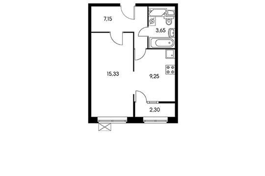 1-комнатная квартира, 37.4 м<sup>2</sup>, 12 этаж_1