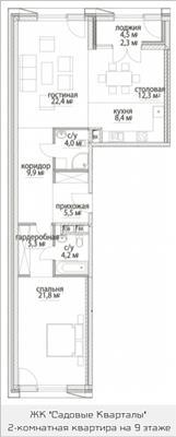2-комнатная квартира, 96.1 м<sup>2</sup>, 9 этаж_1