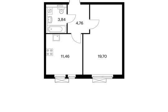 1-комнатная квартира, 39.76 м<sup>2</sup>, 4 этаж