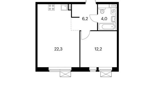 1-комнатная квартира, 44.7 м<sup>2</sup>, 15 этаж