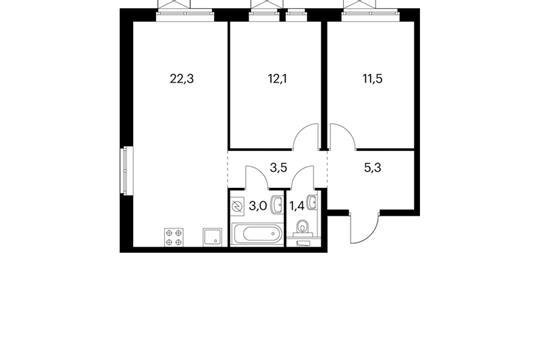 2-комнатная квартира, 59.1 м<sup>2</sup>, 15 этаж
