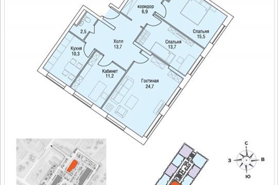 4-комнатная квартира, 104.6 м<sup>2</sup>, 18 этаж